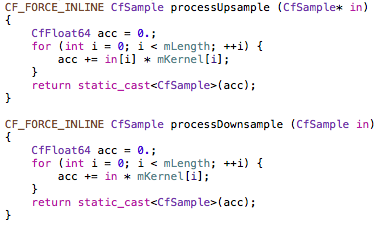 Code implementing the polyphase branches.
