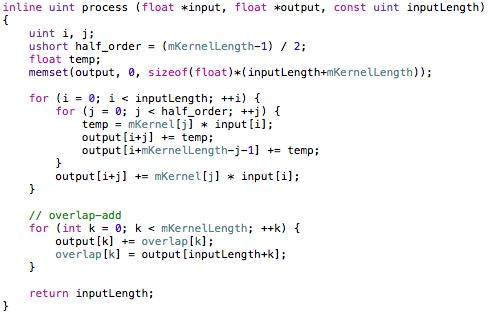 Input side convolution process.