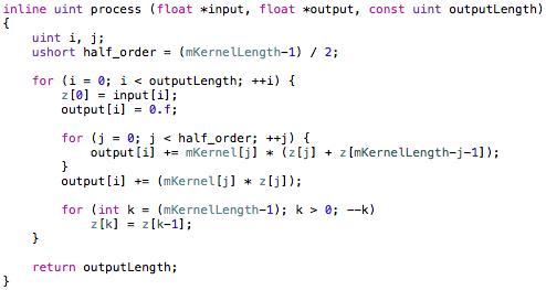 Output side convolution process.