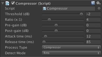 Compressor/Limiter Unity inspector GUI.